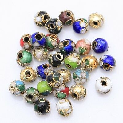 Hot Wholesale 110pcs Mixed Cloisonne Enamel Round Spacer Loose Beads 6mm
