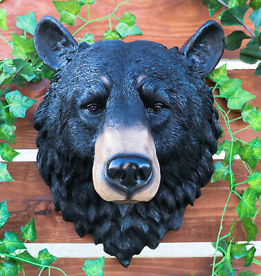 "Large 17""H American Black Bear Head Bust Wall Hanging Figurine Home Decor Plaque"