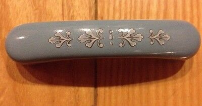2 Vintage Porcelain Ceramic Drawer Pull Farmhouse Shabby Retro Blue