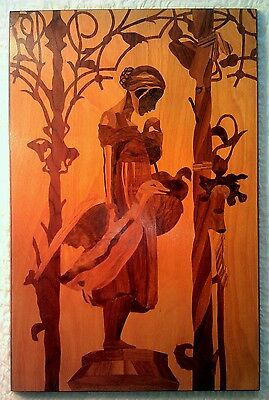 "Vintage Swiss Girl Inlaid Wood Marquetry ""Hospes, Angentein 1967"""