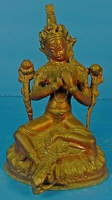 Vintage Nepalese Copper Hindu Goddess Seated Tara Sculpture