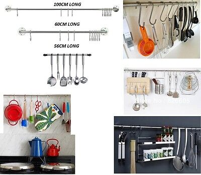 Kitchen Utensil Hanging Rail Rack Organiser Wall Mounted Stainless Steel 10 Hook