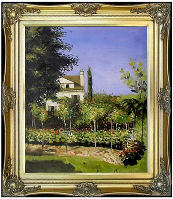 Framed, Claude Monet Garden Flowers Repro, Hand Painted Oil Painting, 20x24in