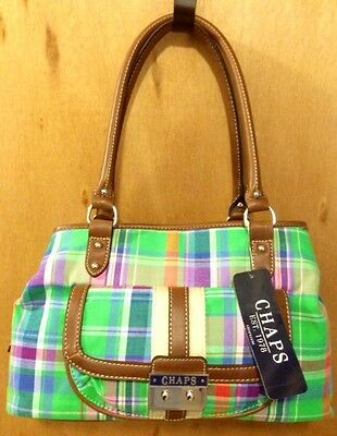 Chaps Marcie Triple Satchel Bag Canoa Green Plaid Purse Brand New iwth Tags