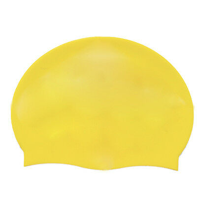 CF Adult Soft Silicone Dome Shape Swimming Cap Hat Yellow