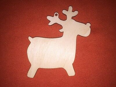 10 x REINDEER RUDOLPH n33 PLAIN SHAPE WOODEN BLANKS HANGING CHRISTMAS CRAFT TAG