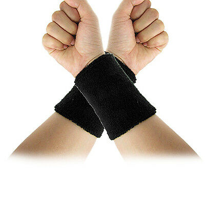 CF Black Elastic Terry Wrist Sweatband Sports Support 2Pcs