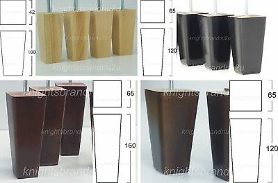 4x WOODEN FURNITURE LEGS/FEET MAHOGANY NATURAL BLACK - SOFA, CHAIRS, SETTEES M10