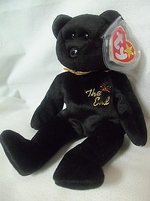"TY Beanie Babies 8"" All Black Teddy Bear  ** THE END ** 5th Generation New w/Tag"