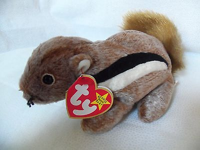 "TY Beanie Babies 7"" Cute Chipmunk  ** CHIPPER **  5th Gen New w/ Tag"