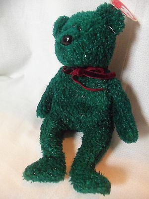 TY Beanie Babies Green Sparkle 2001 Holiday Teddy  New w/ Tag