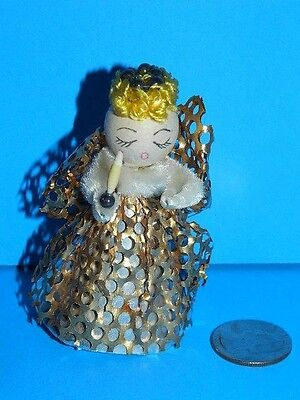 "VINTAGE CHRISTMAS ornament CHENILLE ANGEL with CANDLE Gold Gossamer DRESS 4""H"
