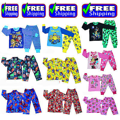 New Size 1~12 Kids Pyjamas Winter Boys Girls Sleepwear Tshirt Paw Minion Avenger