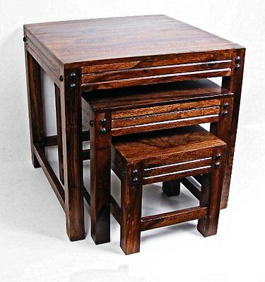 Ultimate Products Indian Sheesham Jaipur Nest of 3 Tables . Solid Wood Hand Made