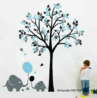 Elephant Balloon Tree Wall Sticker Vinyl Decal Kids Nursery Baby Decor Art Mural