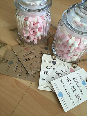 18 Vintage Personalised Baby Shower Favour Tags, for sweets, candy