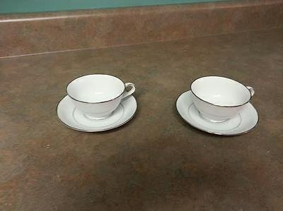 Noritake VERSAILLES 6565 2 Cups & Saucers White Flowers Scrolls White
