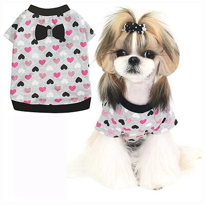 Puppy Twinkling Pink Heart Clothes Dog Short Sleeve Shirts(SZ: L, #P70)