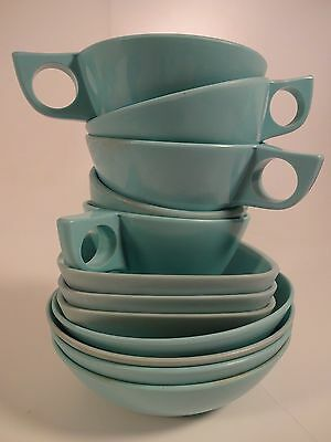 VINTAGE Retro 12pc. Plastic Light Blue Melmac and Other Matching Mixed Dishes