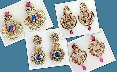 Bollywood Indian Jewelry Gold Ethnic Bridal Wedding Party Earrings 6 colors