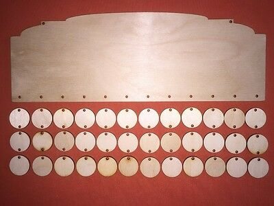 1 LONG PLAQUE n2 & circles PLAIN BLANK WOODEN UNPAINTED BIRTHDAYS REMINDER SIGNS