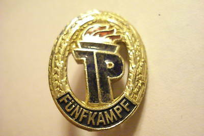 Large East German Germany Pioneers Young Tourist pin badge Brass Camping Tent