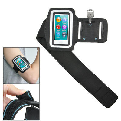 Black Sports Gym Jogging Black Armband Case Cover for Apple iPod Nano 7 7th  WS