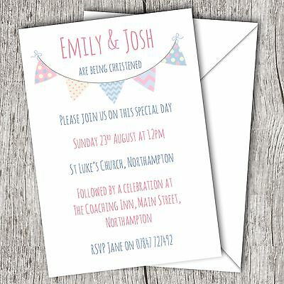 Personalised Invitations • Christening ~ Baptism ~ Naming Day • Boy/Girl Twins