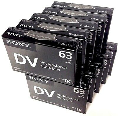 Sony Professional Mini DV Minidv Camcorder video 63min Tape DVM63PS 10 pack
