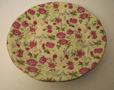 Charlotte China (Made In China) Salad Plate Pink Chintz Flowers Yellow Bckground