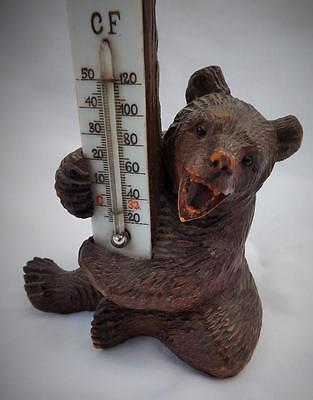 ANTIQUE CARVED WOODEN GERMAN BLACK FOREST BEAR THERMOMETER 13CM HIGH
