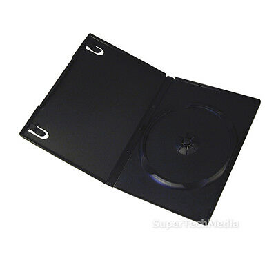 50 Standard 14mm Single CD DVD Disc Black Case Movie Video Box
