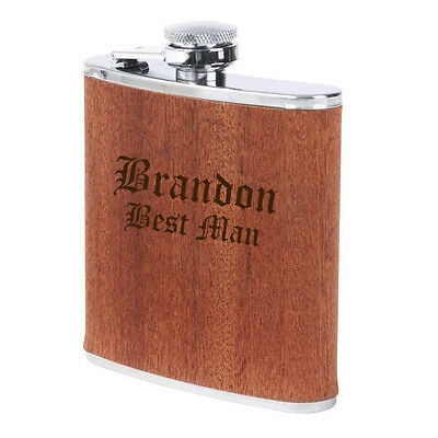 Engraved 6oz Real Wood Wrap Stainless Steel HIP FLASK CUSTOM PERSONALIZED