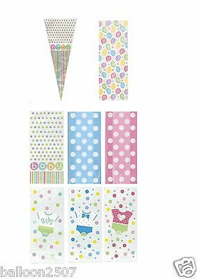 20 Baby Shower Party Gift Cello Cone Bags favors Boy Girl Polka Dot Clothes