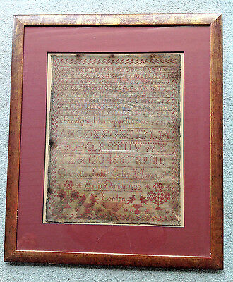 Antique Sampler Embroidery Dated 1832 Charlotte Judith Coles Aged 7 Years London