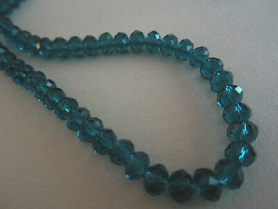Teal Green Blue Faceted Quartz Crystal Rondelle Beads 6mm