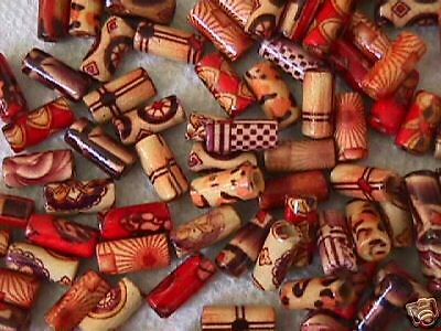 Laquer Painted Wood Tube Beads 50pc for Hemp Macrame