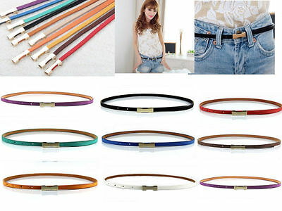 Fashion Women Lady Thin Skinny Metal Gold Buckle Waistband PU Leather Belt  CEAU