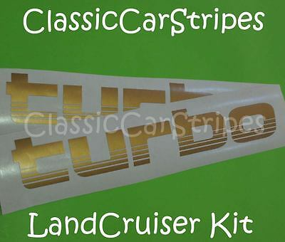 TURBO GOLD Pair Stickers Decal suit Toyota Landcruiser 100 series