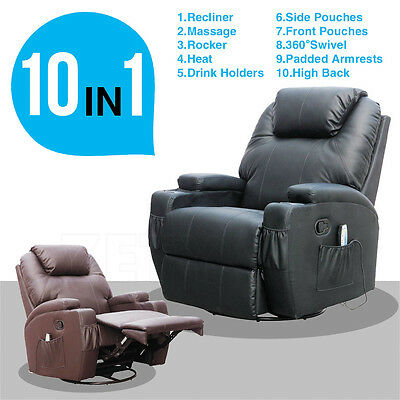Faux Leather Functional Massage Chair Recliner Heating Rocker Swivel Brown/Black