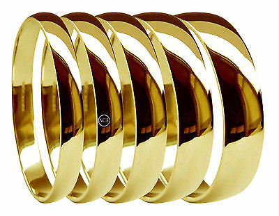 18ct Yellow Gold Wedding Rings D Shaped Medium 2, 3mm 4mm 5mm 6mm 750 UK HM Band