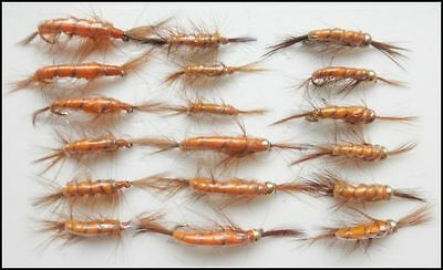 Shrimp Fishing Flies, 18  Goldhead & Unweighted, Mixed Sizes, For fly Fishing