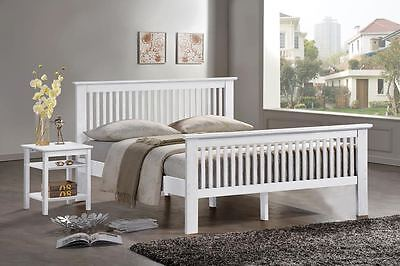 French White Bed Frame - Oak Double Bedstead - King Size White Shaker Style Bed