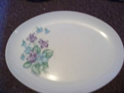 vintage Royalon Inc. Melmac tray purple and blue flowers 313 Made in USA