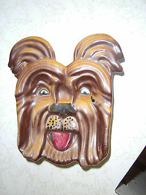 """Hard To Find """"Mean Gangster"""" Dog face Plate Wall Hanging Signed Pottery Italy"""