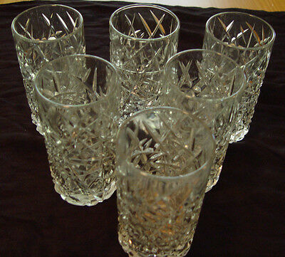 """Seneca Criss Cross Cut Pattern Six 16OZ. About 6"""" Tall Glasses With Numbers"""
