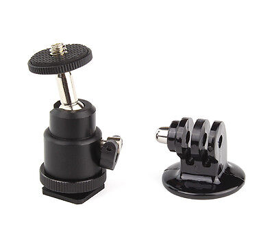 "Adjustable Swivel 1/4"" Mini Hot Shoe Ball head + Tripod Adapter for GoPro Camera"