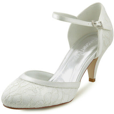 HC1508 Women's Round Toe Cone Heel Lace Buckles Sandals Wedding Bridal Shoes
