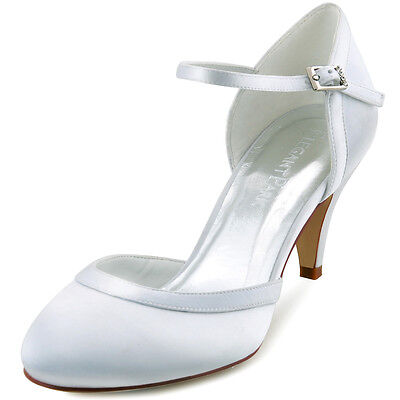 HC1509 Closed Round Toe Pumps Kitten Heel Satin Party Prom Wedding Bridal Shoes
