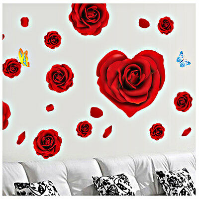 Red Rose Removable Decal Room Wall Sticker Vinyl Art Home Decor